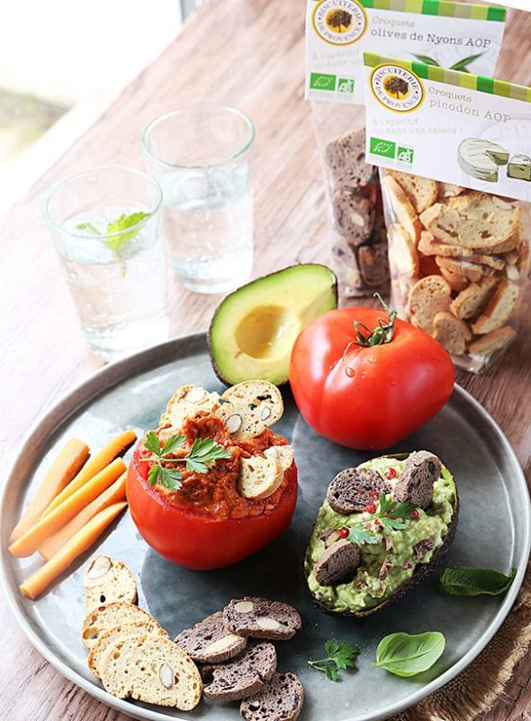 Recette bio: Caviar de tomates confites et guacamole aux croquets