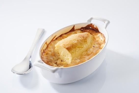 Recette de soufflés de brochet bio sauce aigre douce sur fondue de poireaux