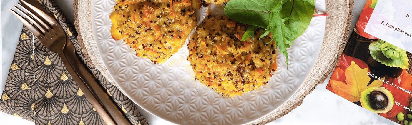 Recette de galettes de quinoa et de potimarron, mâche bio